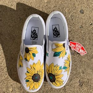 Vans Shoes   Handpainted Sunflower Vans